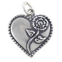 Heart with Rose Charm 17.5x16mm Sterling Silver (1-Pc)