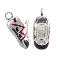 Running Shoe Charm Red/Black 15x6mm Sterling Silver