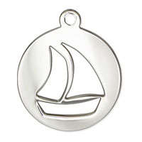 Sailboat Charm 19.5x16.5mm Sterling Silver (1-Pc)