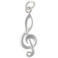 Treble Clef Charm 24x8mm Sterling Silver (1-Pc)