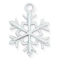 Glitter Snowflake Charm 21x16mm Pewter Hand Painted (1-Pc)