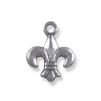 Fleur de Lis Charm 10x8mm Sterling Silver Plated (6-Pcs)