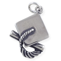 Graduation Cap & Diploma Charm 20x14mm Sterling Silver (1-Pc)