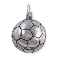 Soccer Ball Charm 16x14mm Sterling Silver (1-Pc)