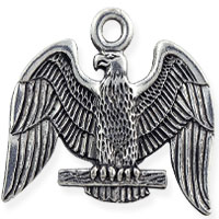Posed Eagle Patriotic Charm 20x20mm Pewter Antique Silver Plated (1-Pc)