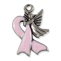 Angel with Ribbon Charm 13x20mm Pewter Antique Silver Plated (1-Pc)