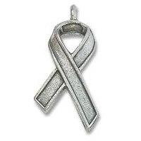Awareness Ribbon Charm 19x12mm Pewter Antique Silver Plated (1-Pc)