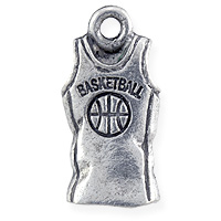 Basketball Jersey Charm 17x9mm Pewter Antique Silver Plated (1-Pc)