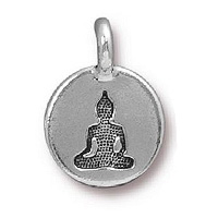 TierraCast Buddha Charm 12x17mm Pewter Antique Silver Plated (1-Pc)