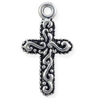 Decorated Cross Charm 19x11mm Pewter Antique Silver Plated (1-Pc)