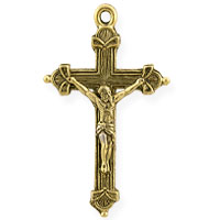 Cross Charm 37x22mm Pewter Antique Gold Plated (1-Pc)