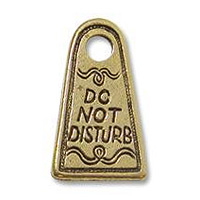Do Not Disturb Charm 18x11mm Pewter Antique Gold Plated (1-Pc)