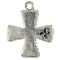 Cross with Fleur De Lis Pendant 30x25mm Pewter Antique Silver Plated (1-Pc)