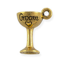 Groom Glass Charm 16x12mm Pewter Antique Gold Plated (1-Pc)