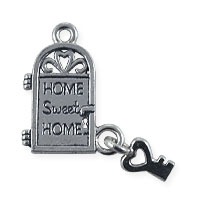 Home Sweet Home Charm 28x16mm Pewter Antique Silver Plated (1-Pc)