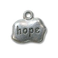 Hope Charm 9x12mm Pewter Antique Silver Plated (1-Pc)