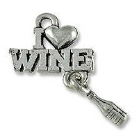 I Love Wine Charm 21x15mm Pewter Antique Silver Plated (1-Pc)