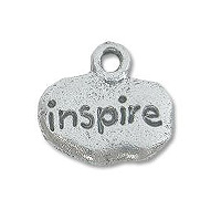 Inspire Charm 9x12mm Pewter Antique Silver Plated (1-Pc)
