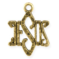 Jesus Charm 19x15mm Pewter Antique Gold Plated (1-Pc)