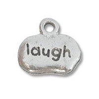 Laugh Charm 8x12mm Pewter Antique Silver Plated (1-Pc)