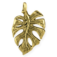 Leaf Charm 21x14mm Pewter Antique Gold Plated (1-Pc)