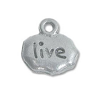 Live Charm 9x11mm Pewter Antique Silver Plated (1-Pc)