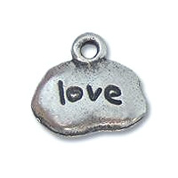 Love Charm 9x13mm Pewter Antique Silver Plated (1-Pc)