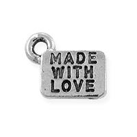 Made with Love Charm 6x9mm Pewter Antique Silver Plated (1-Pc)