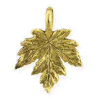 Maple Leaf Charm 15x12mm Pewter Antique Gold Plated (1-Pc)
