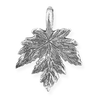 Maple Leaf Charm 15x12mm Pewter Antique Silver Plated (1-Pc)