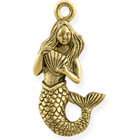 Mermaid Charm 22x12mm Pewter Antique Gold Plated (1-Pc)