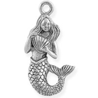 Mermaid Charm 22x12mm Pewter Antique Silver Plated (1-Pc)