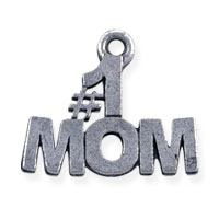 #1 Mom Charm 14x16mm Pewter Antique Silver Plated (1-Pc)
