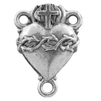 Sacred Heart Rosary Centerpiece 19x14mm Pewter Antique Silver Plated (1-Pc)