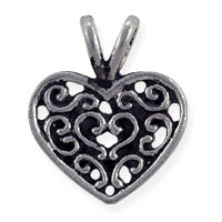 Scrollwork Heart Charm 18x15mm Pewter Antique Silver Plated (1-Pc)