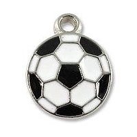 Soccer Ball Charm 15x12mm Pewter Antique Silver Plated (1-Pc)