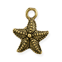 Starfish Charm 16x12mm Pewter Antique Gold Plated (1-Pc)
