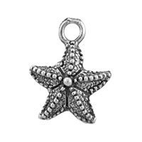 Starfish Charm 16x12mm Pewter Antique Silver Plated (1-Pc)