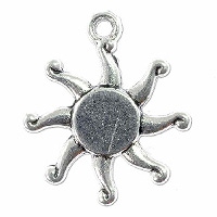 Sun Charm 19x16mm Pewter Antique Silver Plated (1-Pc)