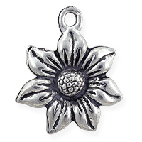 Flower Charm 20x17mm Pewter Antique Silver Plated (1-Pc)