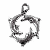 Three Dolphins Charm 21x17mm Pewter Antique Silver Plated (1-Pc)