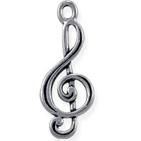 Treble Clef Charm 27x11mm Pewter Antique Silver Plated (1-Pc)