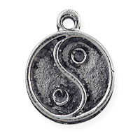 Yin Yang Charm 7x8mm Pewter Antique Silver Plated (1-Pc)