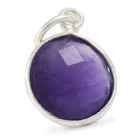 Faceted Amethyst Charm 11mm Sterling Silver (1-Pc)