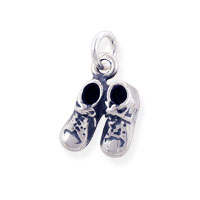 Baby Shoes Charm 10x9mm Sterling Silver (1-Pc)