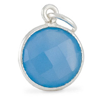 Faceted Blue Onyx Charm 11mm Sterling Silver (1-Pc)