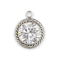 Cubic Zirconia Charm 6mm Sterling Silver (1-Pc)