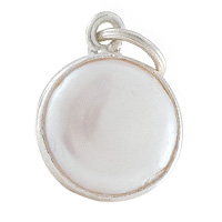 Faceted Freshwater Pearl Charm 11mm Sterling Silver (1-Pc)
