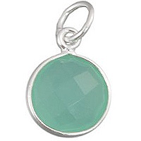 Faceted Sea Green Chalcedony Charm 11mm Sterling Silver (1-Pc)