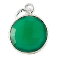 Faceted Green Onyx Charm 11mm Sterling Silver (1-Pc)